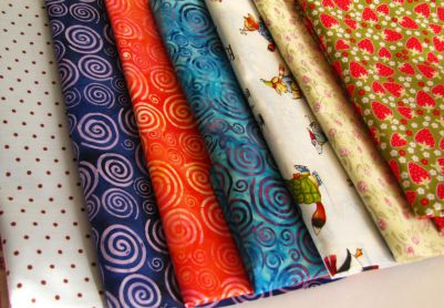 several silk fabrics.