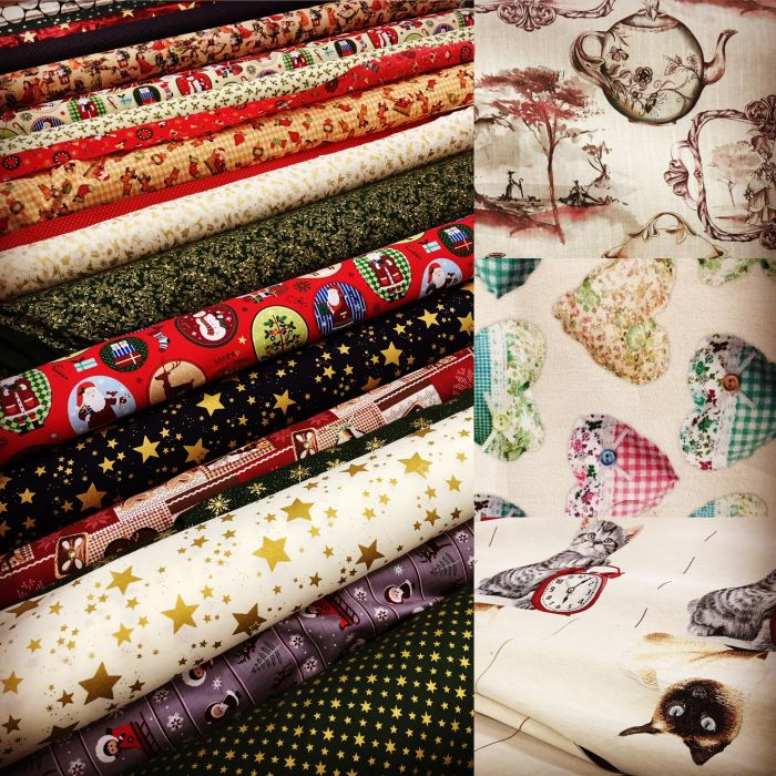 large assortment of fabrics