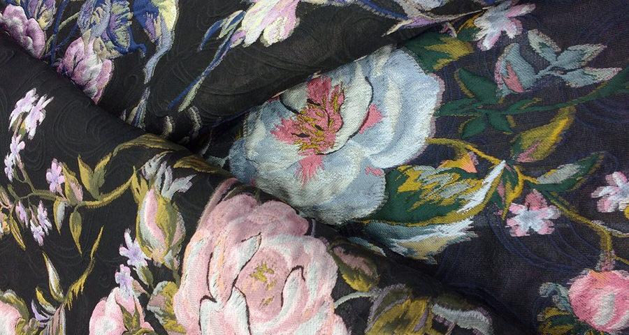 Black Italian fabrics with floral print
